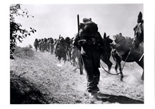 Men of the 2nd Bn Cameron Highlanders, with their supply mule train, move up to reinforce the position - September 1st, 1944